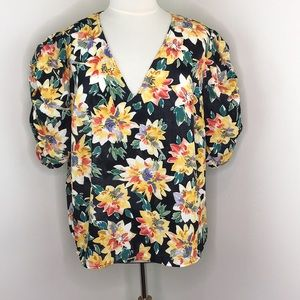 Ava & Vic Floral Puffy Sleeve Blouse